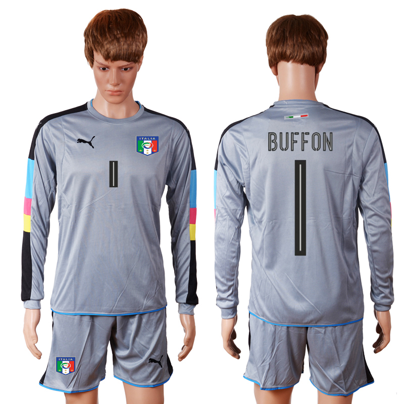 Italy 1 BUFFON Goalkeeper Euro 2016 Long Sleeve Soccer Jersey