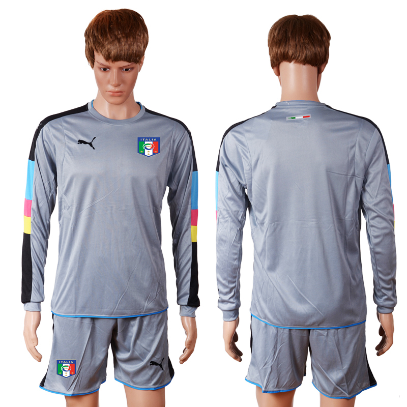 Italy Goalkeeper Euro 2016 Long Sleeve Soccer Jersey