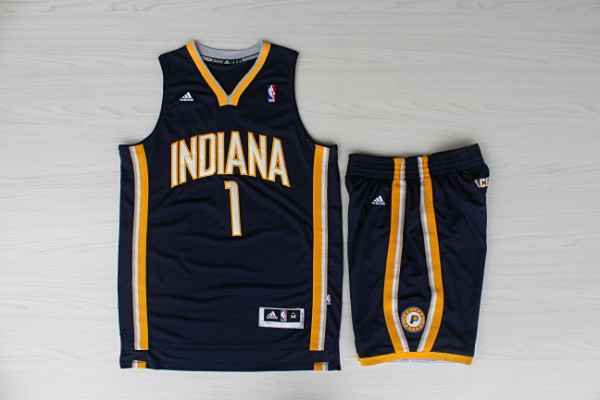 Pacers 1 Stephenson Navy Jersey(With Shorts)