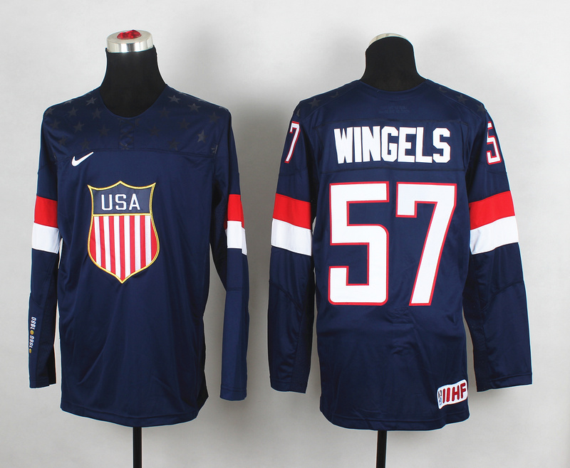 USA 57 Wingels Blue 2014 Olympics Jerseys