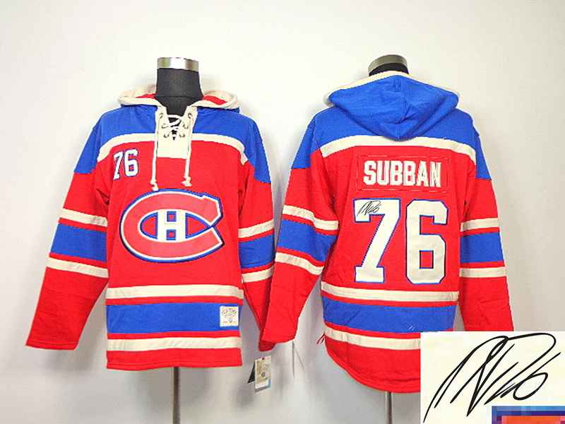 Canadiens 76 Subban Red Hooded Signature Edition Jerseys
