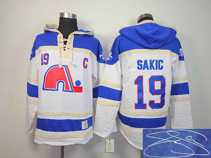 Nordiques 19 Sakic White Hooded Signature Edition Jerseys