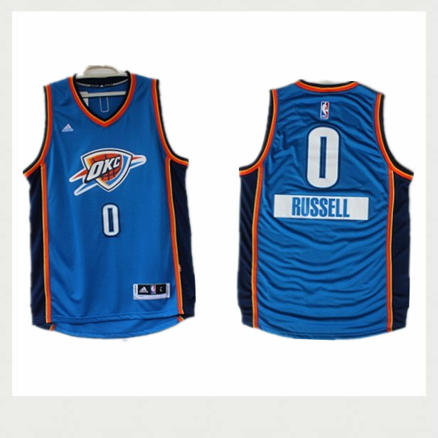Thunder 0 Russell Westbrook Blue 2014-15 Christmas Day Swingman Jerseys