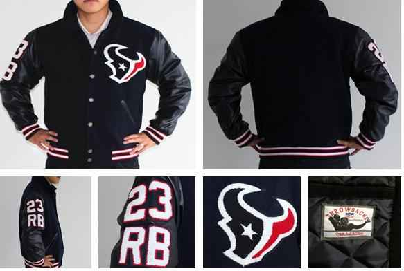 2013 Texans 23 Foster throwback Wool Jacket