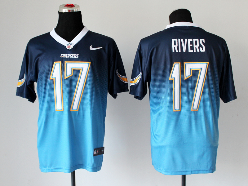 Nike Chargers 17 Rivers D.Blue And L.Blue Drift II Elite Jerseys