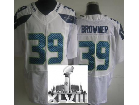 Nike Seahawks 39 Brandon Browner Elite White 2014 Super Bowl XLVIII Jerseys
