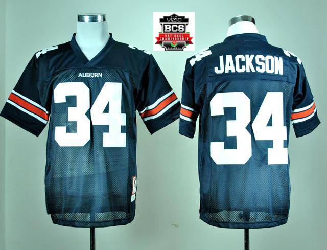 Auburn Tigers Bo Jackson 34 Navy Blue College Football Throwback Jersey With 2014 BCS Patch