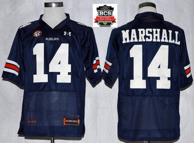 Auburn Tigers Nick Marshall 14 NCAA Football Authentic Nave Blue Jerseys With 2014 BCS Patch