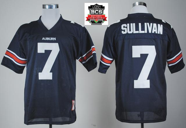 Auburn Tigers Pat Sullivan 7 Navy Blue College Football Throwback Nave Blue Jersey With 2014 BCS Patch