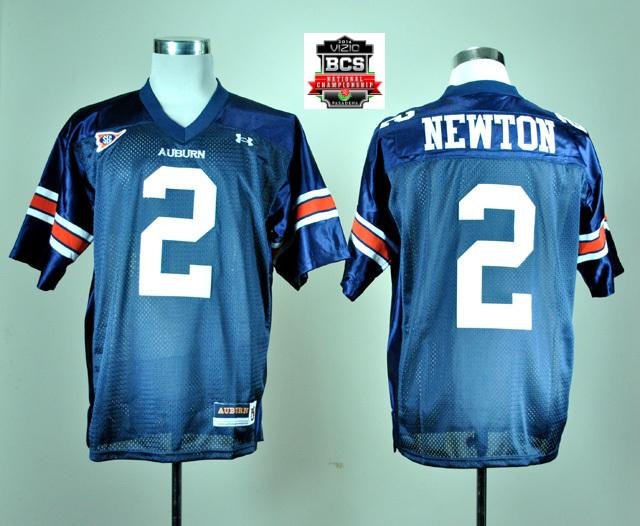 Under Armour Auburn Tigers Cameron Newton 2 Navy Blue College Football Jersey With 2014 BCS Patch