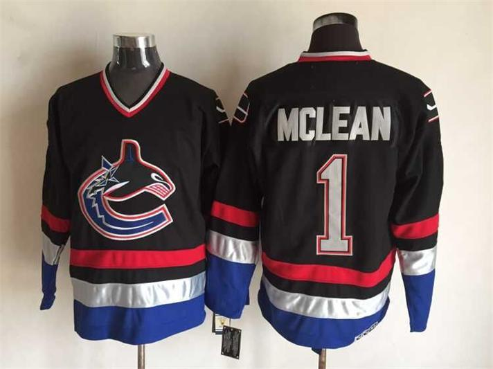 Canucks 1 Kirk Mclean Black CCM Jersey