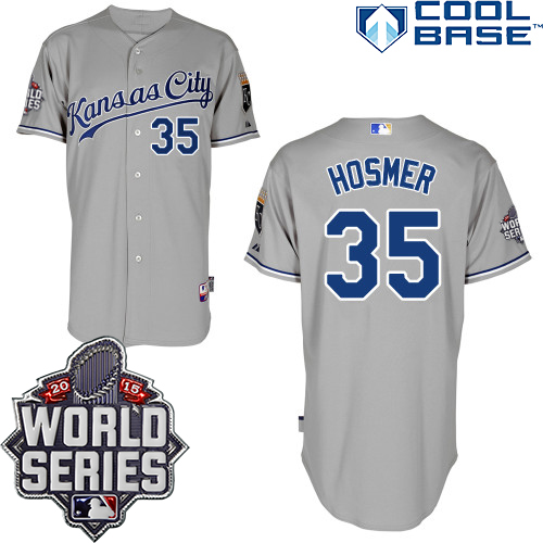 Royals 35 Eric Hosmer Grey With 2015 World Series Cool Base Jersey