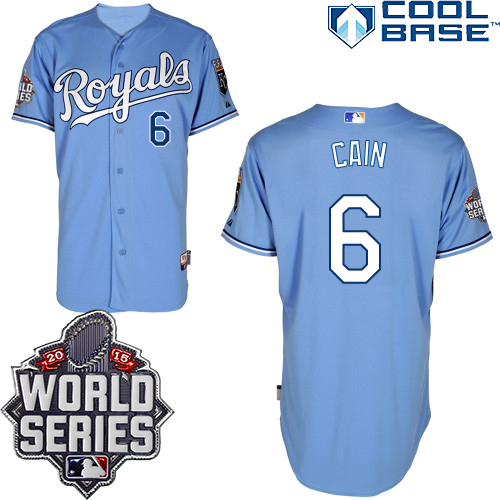 Royals 6 Lorenzo Cain Light Blue With 2015 World Series Cool Base Jersey