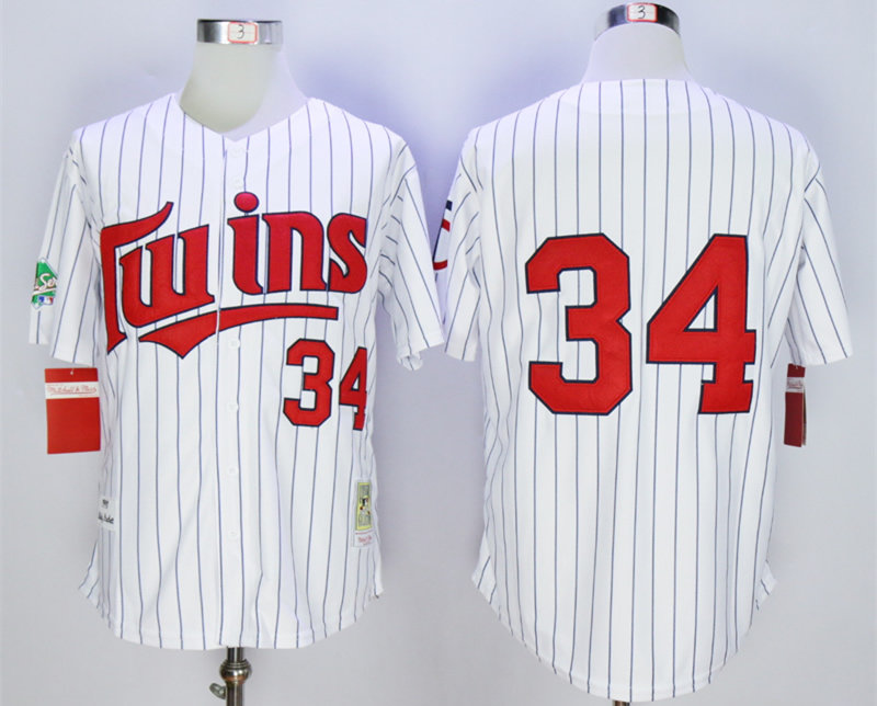Twins 34 Kirby Puckett White 1991 Throwback Jersey