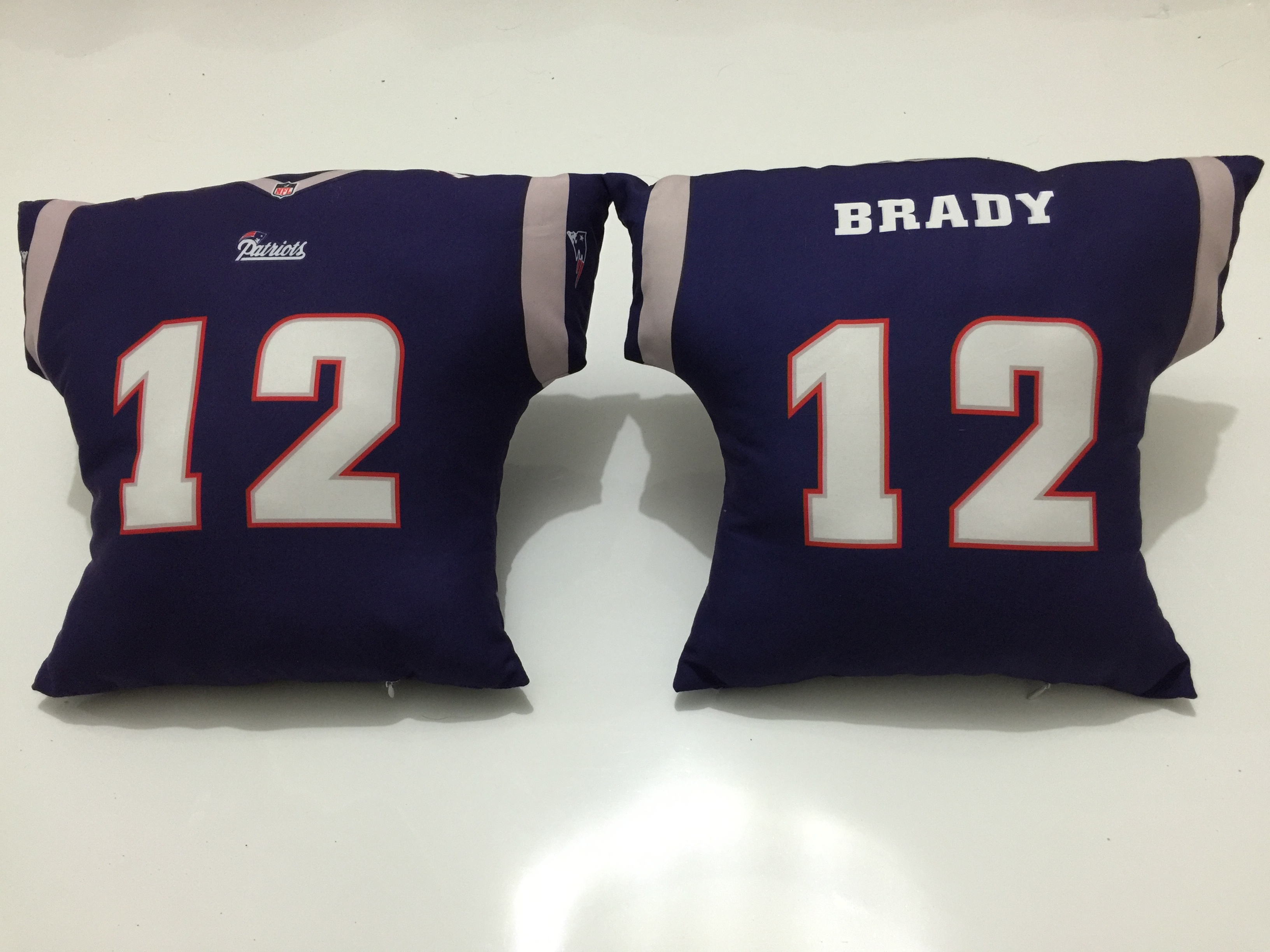 New England Patriots 12 Tom Brady Navy NFL Pillow