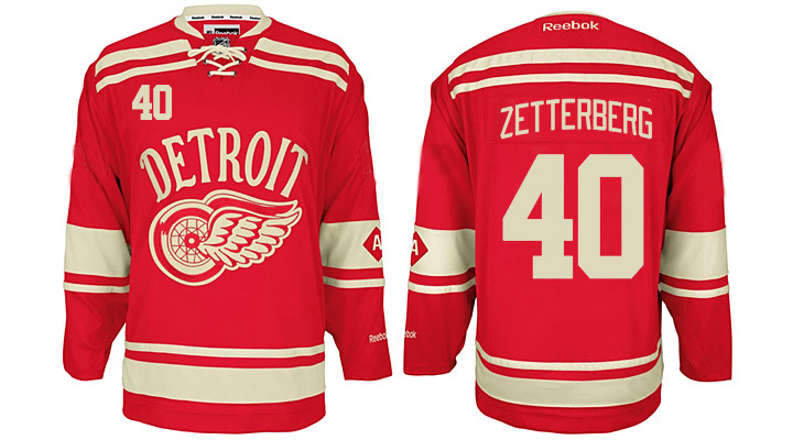 Red Wings 40 Henrik Zetterberg Red 2014 Winter Classic Reebok Jersey