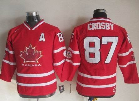 Canada 87 Sidney Crosby Red With A Patch Jersey