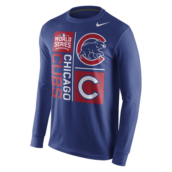 Men's Chicago Cubs Nike Royal 2016 World Series Bound Mascot Long Sleeve T-Shirt