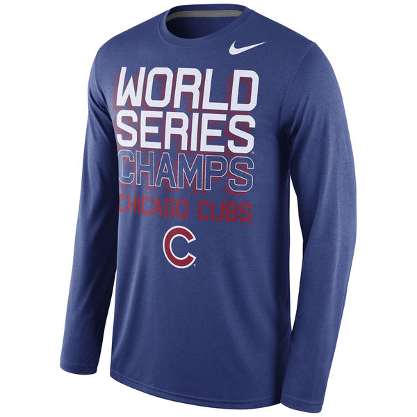 Men's Chicago Cubs Nike Royal 2016 World Series Champions Celebration 3D Long Sleeve T-Shirt