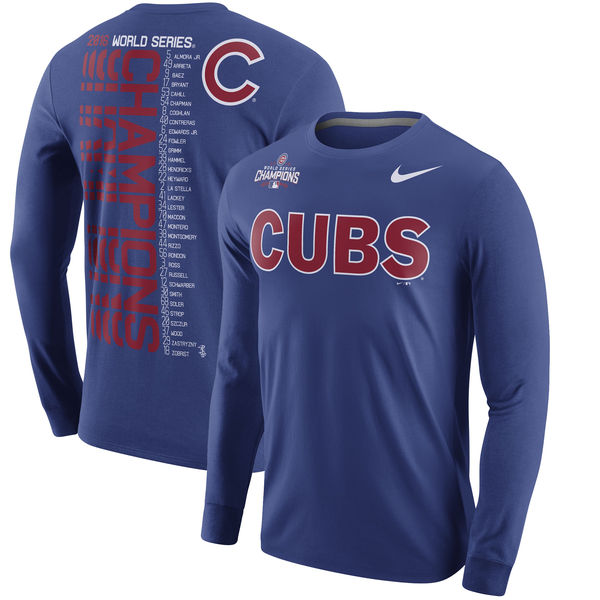 Men's Chicago Cubs Nike Royal 2016 World Series Champions Celebration Roster Long Sleeve T-Shirt