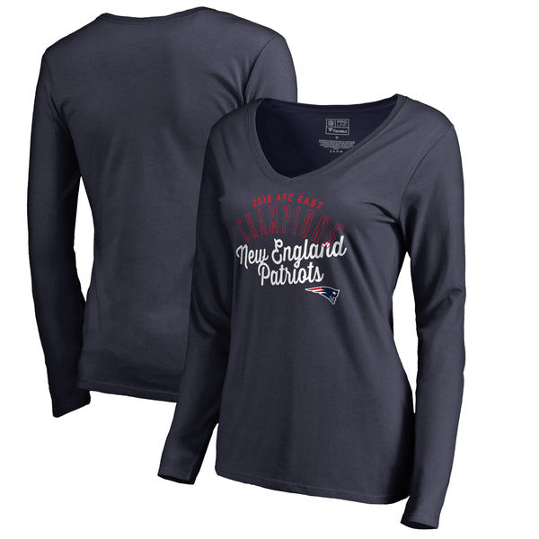 New England Patriots Pro Line by Fanatics Branded Women's 2016 AFC East Division Champions V Neck Long Sleeve T-Shirt Navy