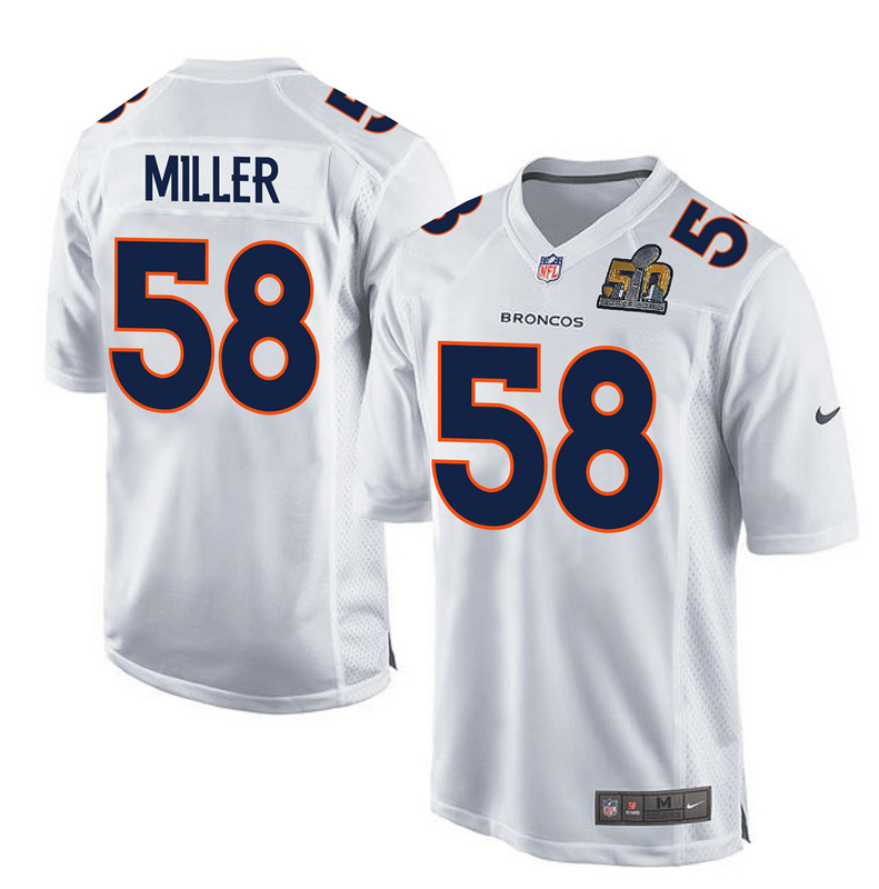 Nike Broncos 58 Von Miller White Youth Super Bowl 50 Bound Game Event Jersey