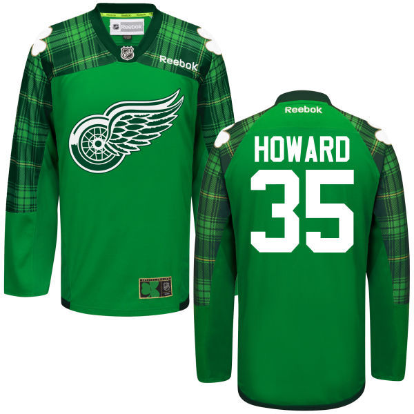 Red Wings 35 Jimmy Howard Green St. Patrick's Day Reebok Jersey