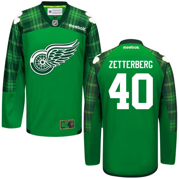 Red Wings 40 Henrik Zetterberg Green St. Patrick's Day Reebok Jersey