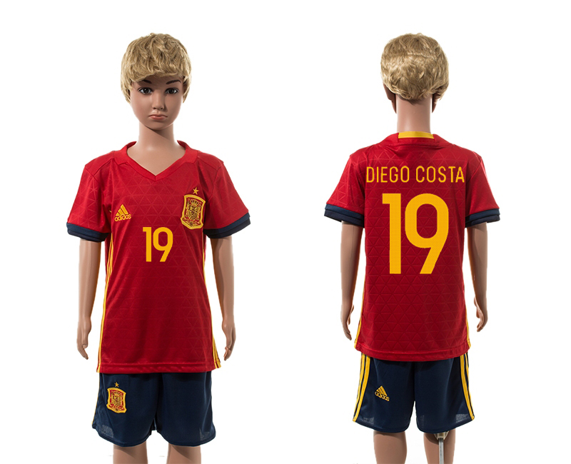Spain 19 DIEGO COSTA Home Youth UEFA Euro 2016 Jersey