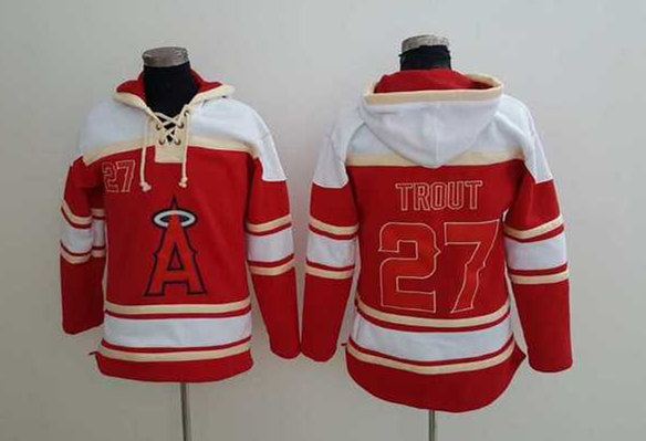 Angels 27 Mike Trout Red All Stitched Sweatshirt