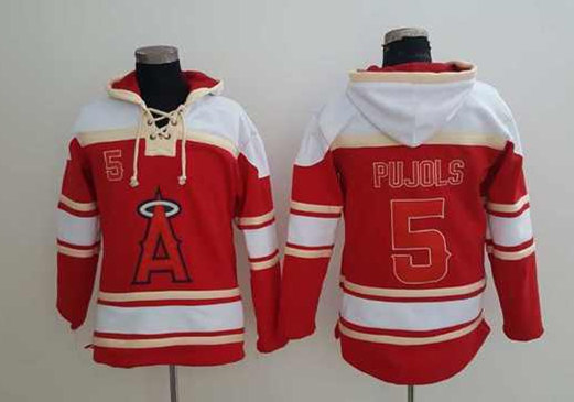 Angels 5 Albert Pujols Red All Stitched Sweatshirt