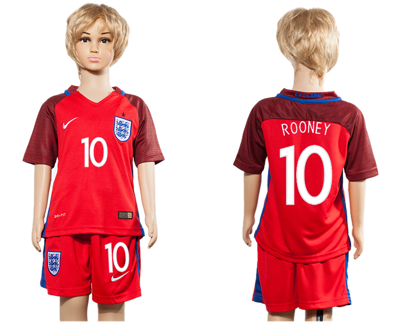 England 10 ROONEY Away Youth UEFA Euro 2016 Soccer Jersey