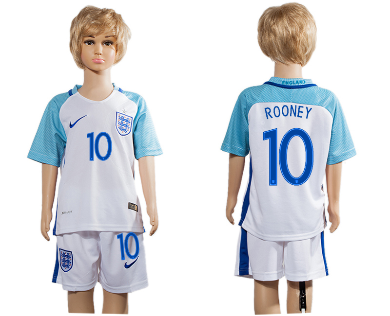 England 10 ROONEY Home Youth UEFA Euro 2016 Soccer Jersey