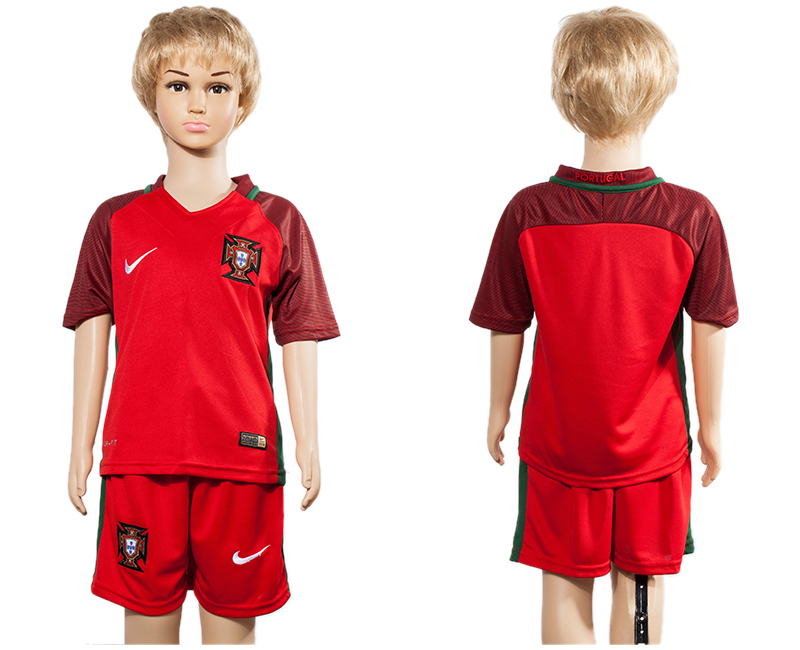 Portugal Home Youth UEFA Euro 2016 Soccer Jersey