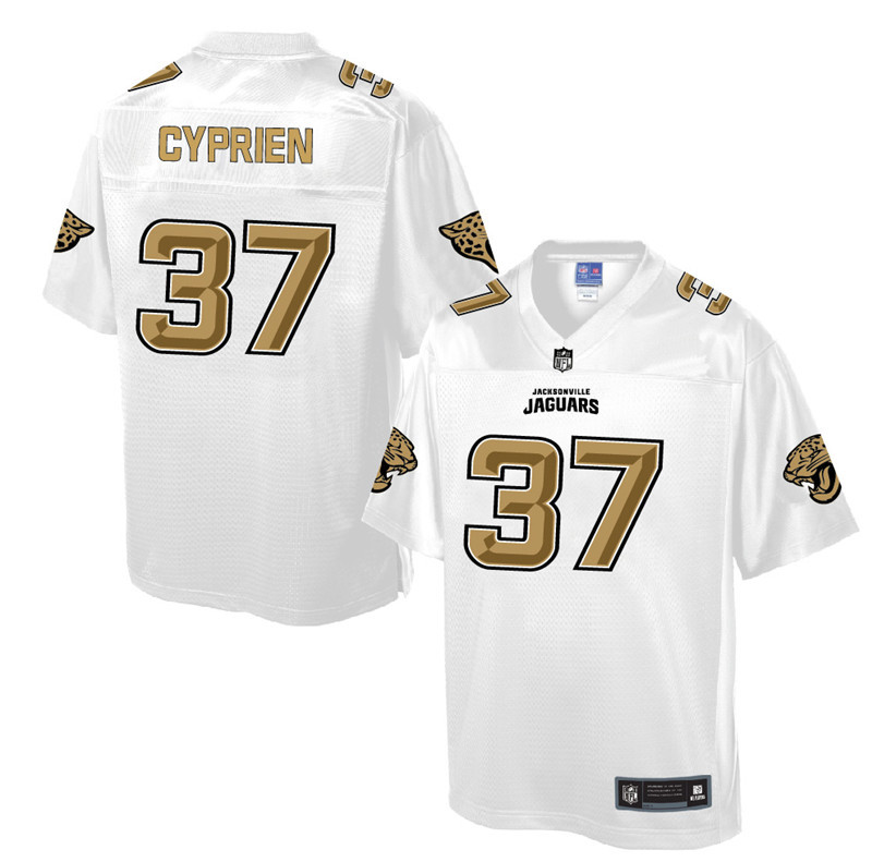 Nike Jaguars 37 Johnathan Cyprien Pro Line White Gold Collection Elite Jersey