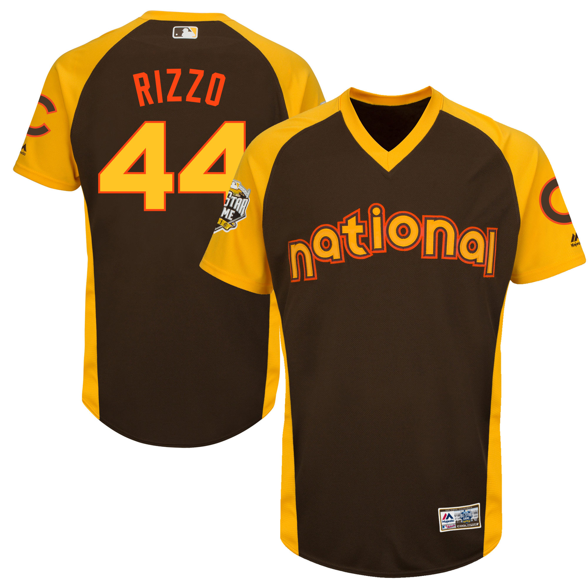 Cubs 44 Anthony Rizzo Brown Youth 2016 All-Star Game Cool Base Batting Practice Player Jersey