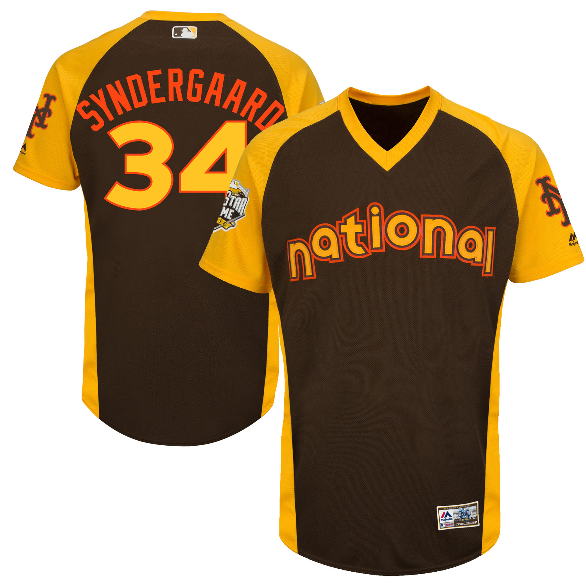 Mets 34 Noah Syndergaard Brown Youth 2016 All-Star Game Cool Base Batting Practice Player Jersey