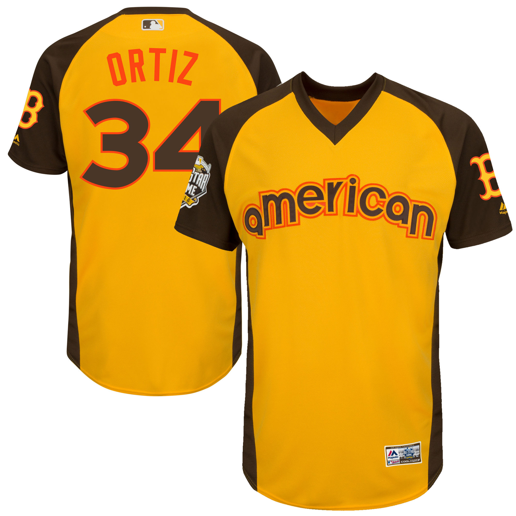 Red Sox 34 David Ortiz Yellow Youth 2016 All-Star Game Cool Base Batting Practice Player Jersey