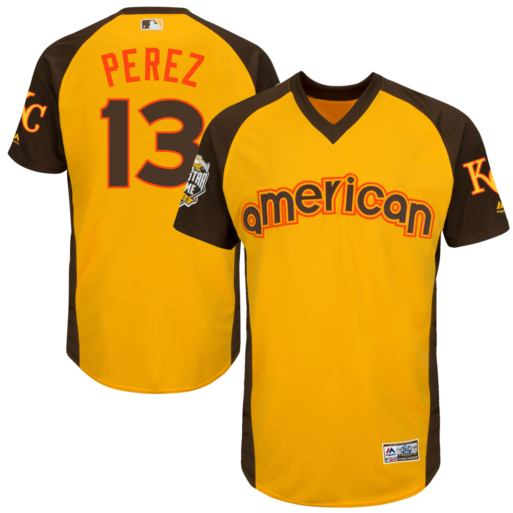 Royals 13 Salvador Perez Yellow Youth 2016 All-Star Game Cool Base Batting Practice Player Jersey
