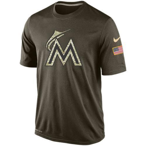 Nike Miami Marlins Olive Green Salute To Service Dri Fit Men's T-Shirt