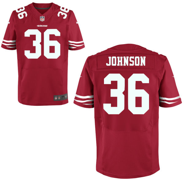 Nike 49ers 36 Donte Johnson Red Elite Jersey