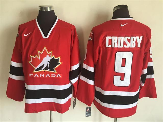 Team Canada 9 Sidney Crosby Red Nike 2002 Olympics Throwback Jersey