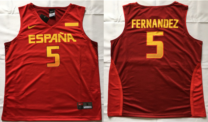 Spain Basketball 5 Rudy Hernandez Red Nike Rio Elite Stitched Jersey