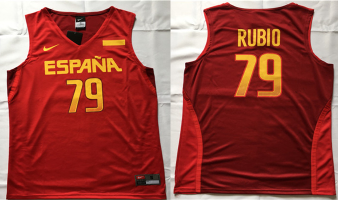 Spain Basketball 79 Ricky Rubio Red Nike Rio Elite Stitched Jersey