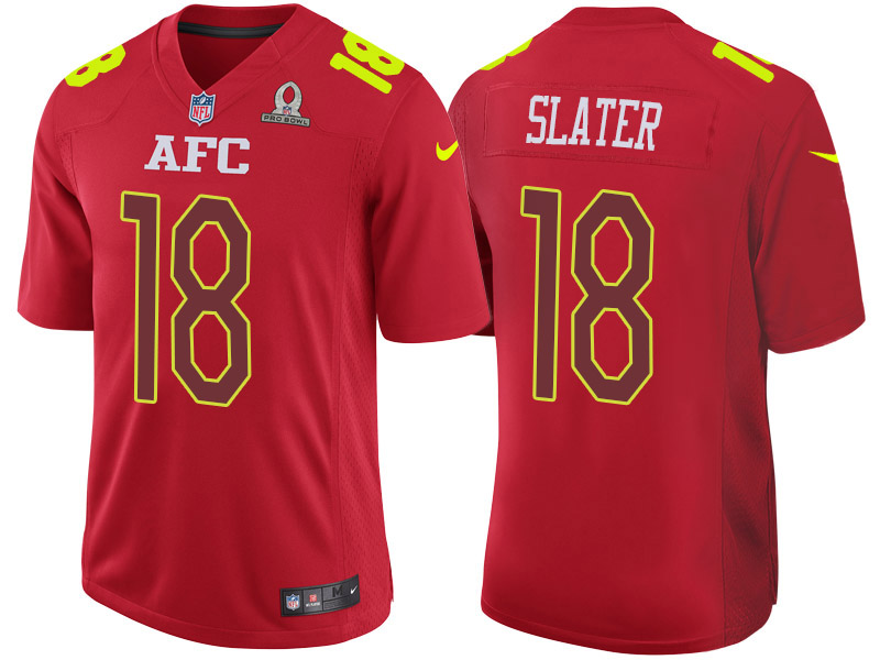 Nike Patriots 18 Matthew Slater Red 2017 Pro Bowl Game Jersey