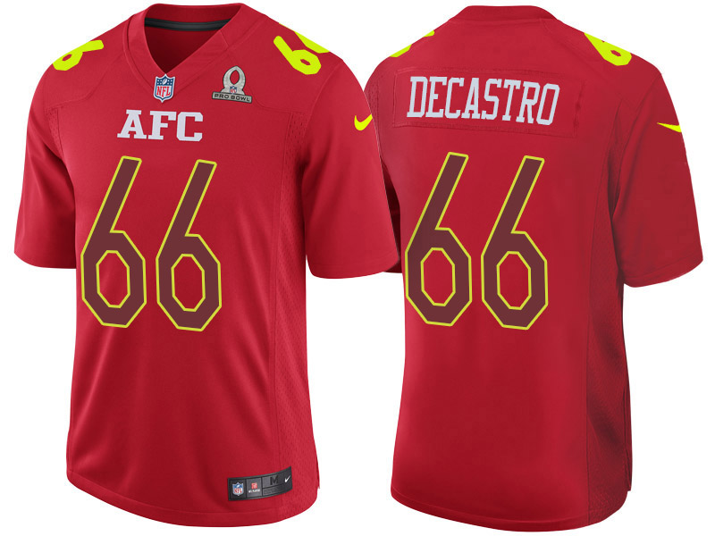 Nike Steelers 66 David Decastro Red 2017 Pro Bowl Game Jersey