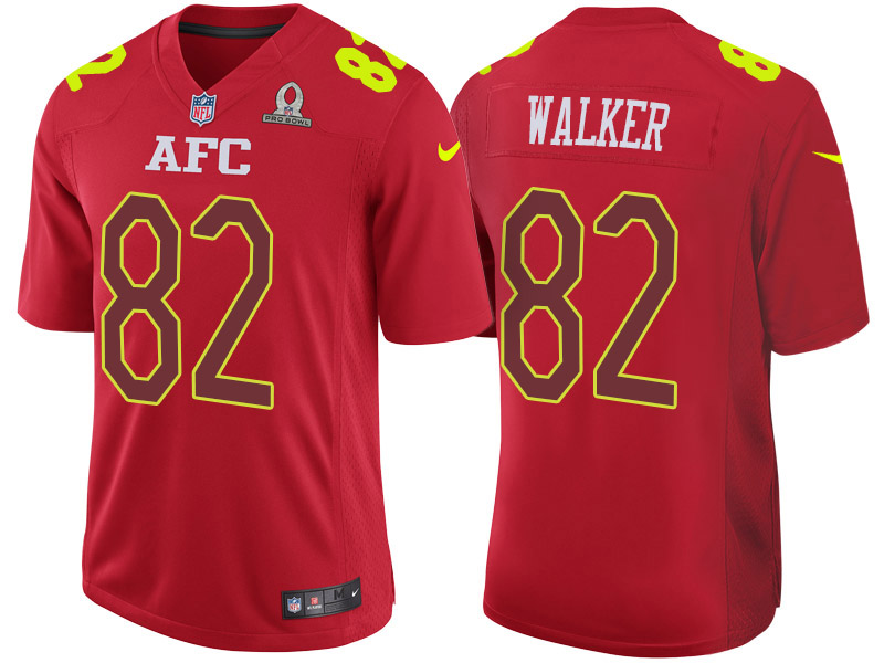 Nike Titans 82 Delanie Walker Red 2017 Pro Bowl Game Jersey