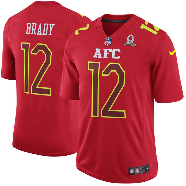 Nike Patriots 12 Tom Brady Red 2017 Pro Bowl Youth Game Jersey
