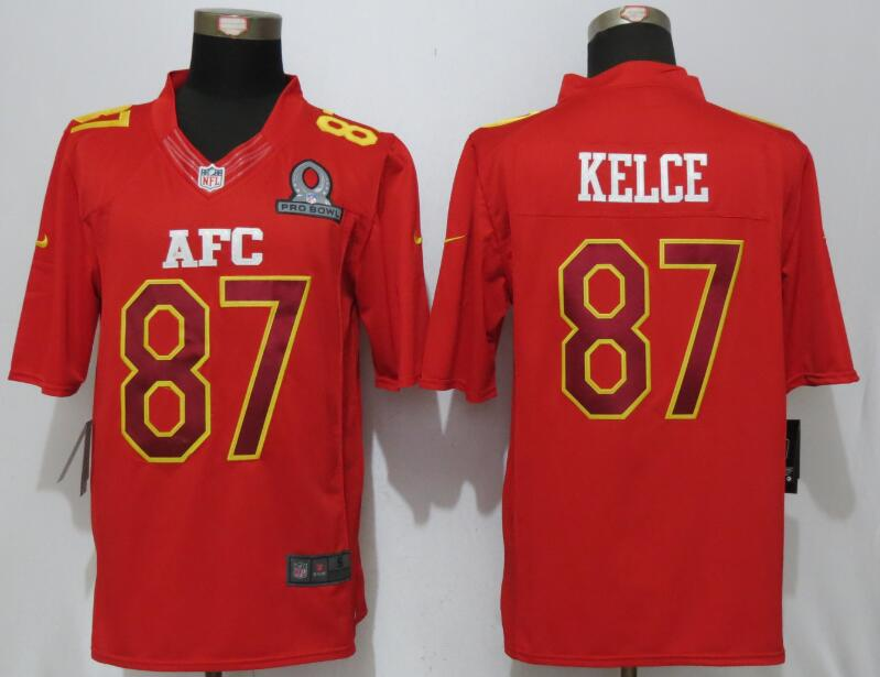 Nike Chiefs 87 Travis Kelce Red 2017 Pro Bowl Limited Jersey