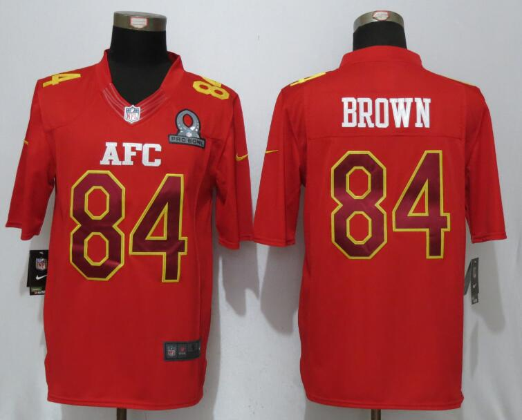 Nike Steelers 84 Antonio Brown Red 2017 Pro Bowl Limited Jersey